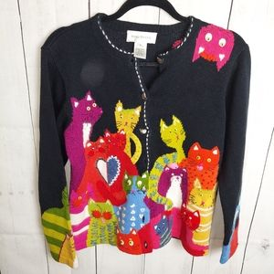 Susan bristol cat lady embroidered sweater colors